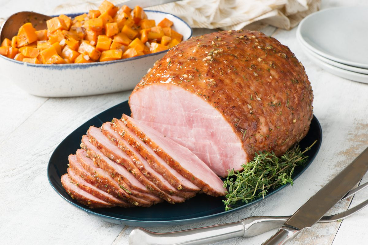 Ham with Herb and Honey Glaze and Roasted Sweet Potatoes