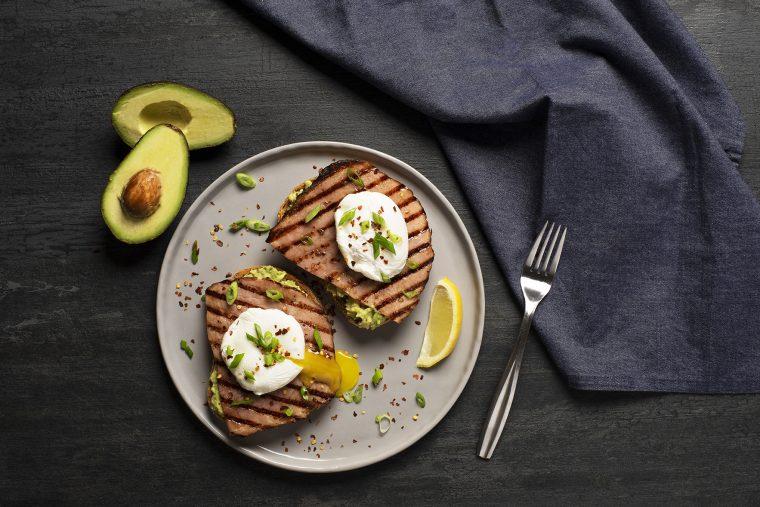 avocado and ham toast made with kentucky legend ham